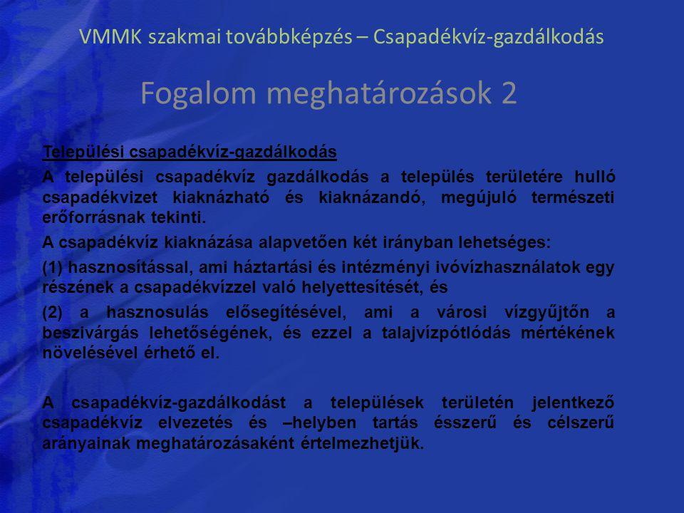 VMMK szakmai továbbképzés – Csapadékvíz-gazdálkodás Fogalom meghatározások 2 Települési csapadékvíz-gazdálkodás A települési csapadékvíz gazdálkodás a