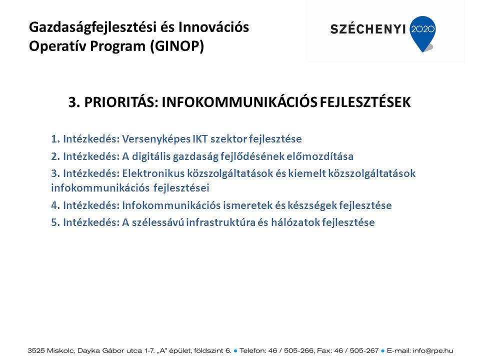 Gazdaságfejlesztési és Innovációs Operatív Program (GINOP) 3. PRIORITÁS: INFOKOMMUNIKÁCIÓS FEJLESZTÉSEK 1. Intézkedés: Versenyképes IKT szektor fejles