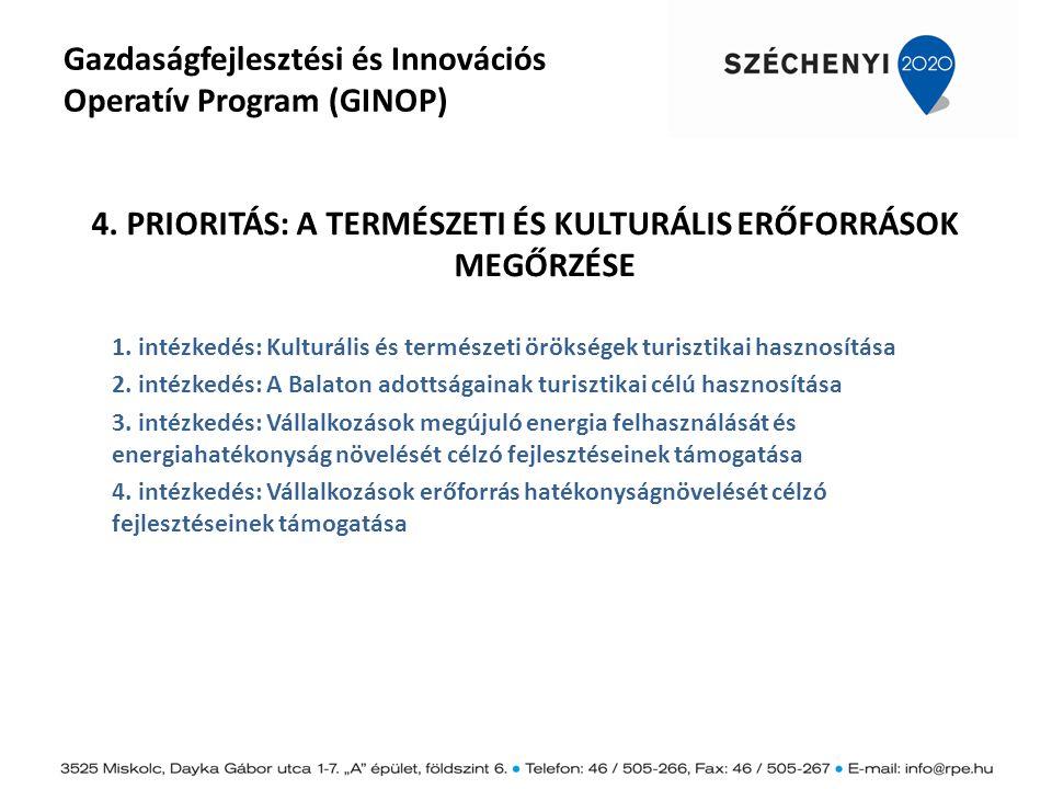 Gazdaságfejlesztési és Innovációs Operatív Program (GINOP) 4. PRIORITÁS: A TERMÉSZETI ÉS KULTURÁLIS ERŐFORRÁSOK MEGŐRZÉSE 1. intézkedés: Kulturális és