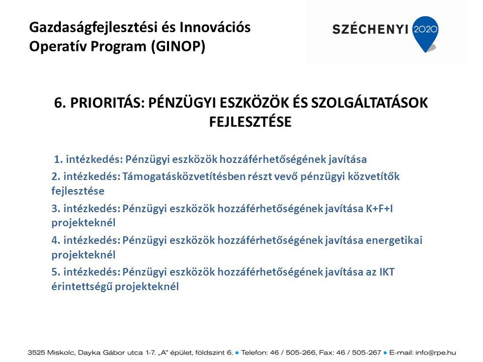 Gazdaságfejlesztési és Innovációs Operatív Program (GINOP) 6. PRIORITÁS: PÉNZÜGYI ESZKÖZÖK ÉS SZOLGÁLTATÁSOK FEJLESZTÉSE 1. intézkedés: Pénzügyi eszkö