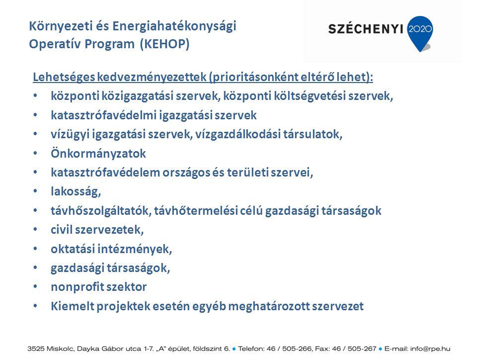 Környezeti és Energiahatékonysági Operatív Program (KEHOP) Lehetséges kedvezményezettek (prioritásonként eltérő lehet): központi közigazgatási szervek
