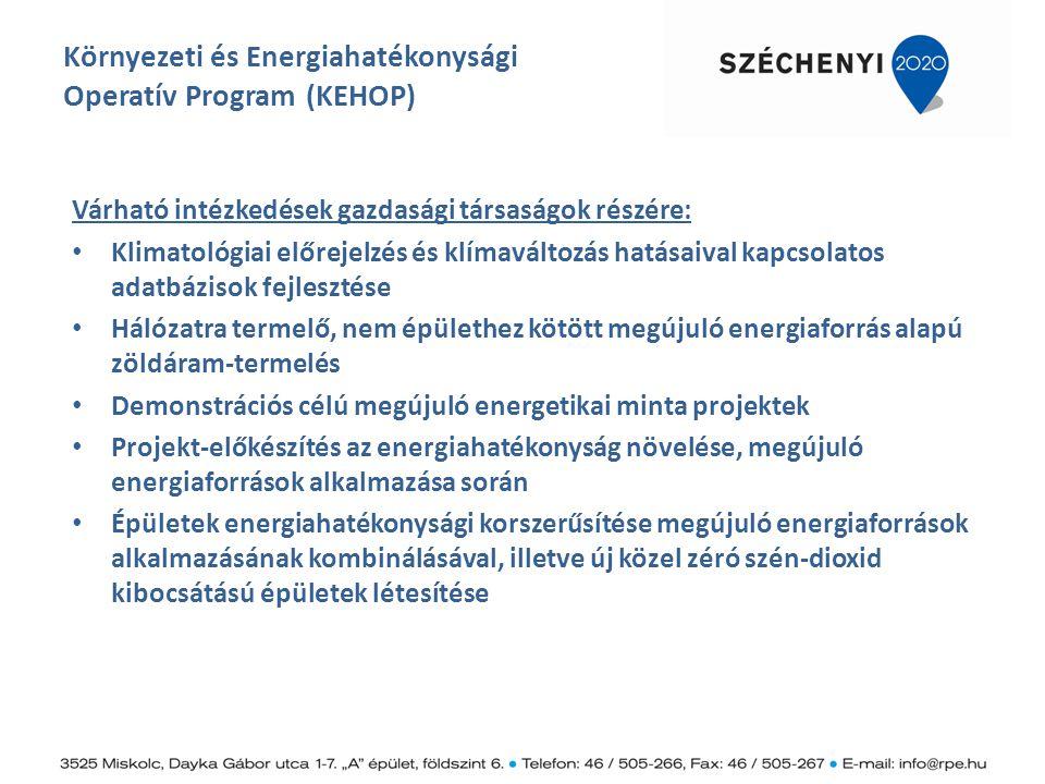 Környezeti és Energiahatékonysági Operatív Program (KEHOP) Várható intézkedések gazdasági társaságok részére: Klimatológiai előrejelzés és klímaváltoz