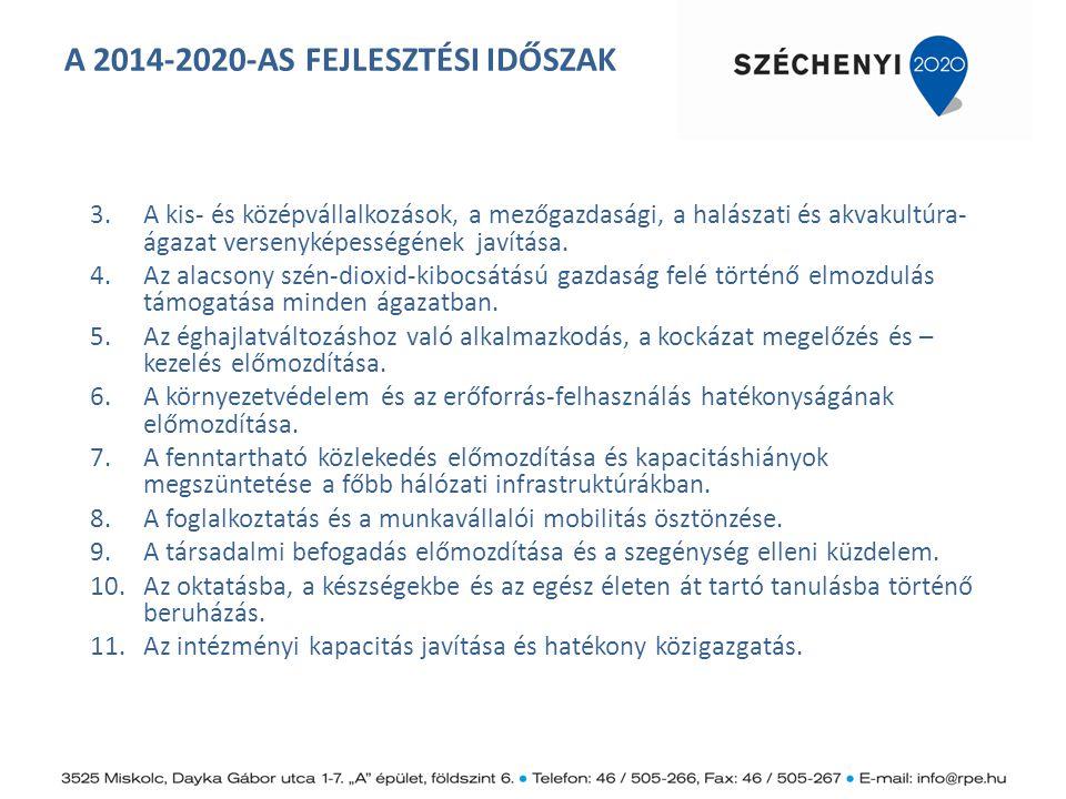 A 2014-2020-AS FEJLESZTÉSI IDŐSZAK Hazai célkitűzések a Nemzeti Reform Programban (NRP) 2020 Foglalkoztatási ráta 75%-ra emelkedik K+F szintje a GDP 1,8%-ára nő Megújuló energiaforrások részaránya 14,6%-ra nő Energia- hatékonyság 10%-os növelése ÜHG kibocsátás legfeljebb 10%- os növelése 2005- höz képest Felsőfokú, ill.