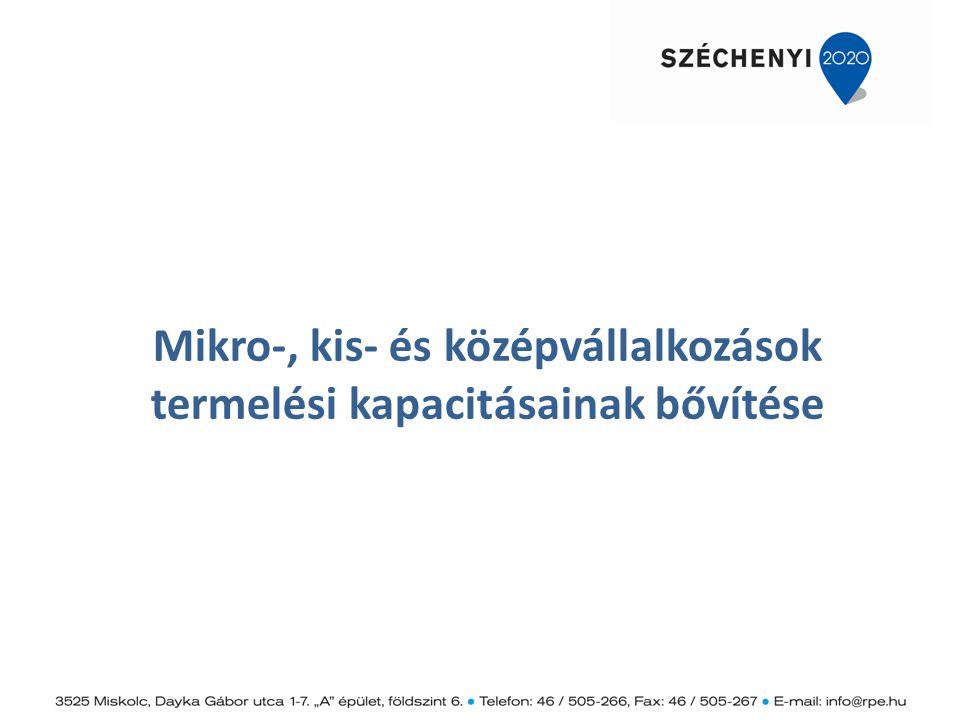 Mikro-, kis- és középvállalkozások termelési kapacitásainak bővítése