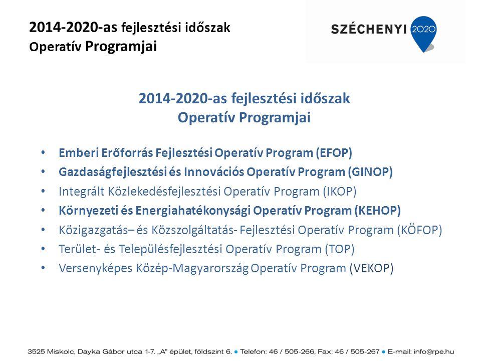 2014-2020-as fejlesztési időszak Operatív Programjai Emberi Erőforrás Fejlesztési Operatív Program (EFOP) Gazdaságfejlesztési és Innovációs Operatív P