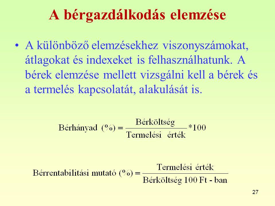 A bérgazdálkodás elemzése A különböző elemzésekhez viszonyszámokat, átlagokat és indexeket is felhasználhatunk. A bérek elemzése mellett vizsgálni kel