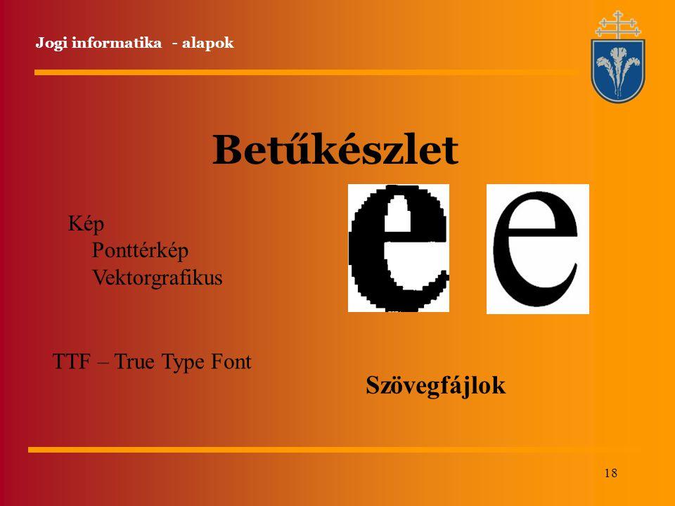 18 Jogi informatika - alapok Betűkészlet Kép Ponttérkép Vektorgrafikus TTF – True Type Font Szövegfájlok