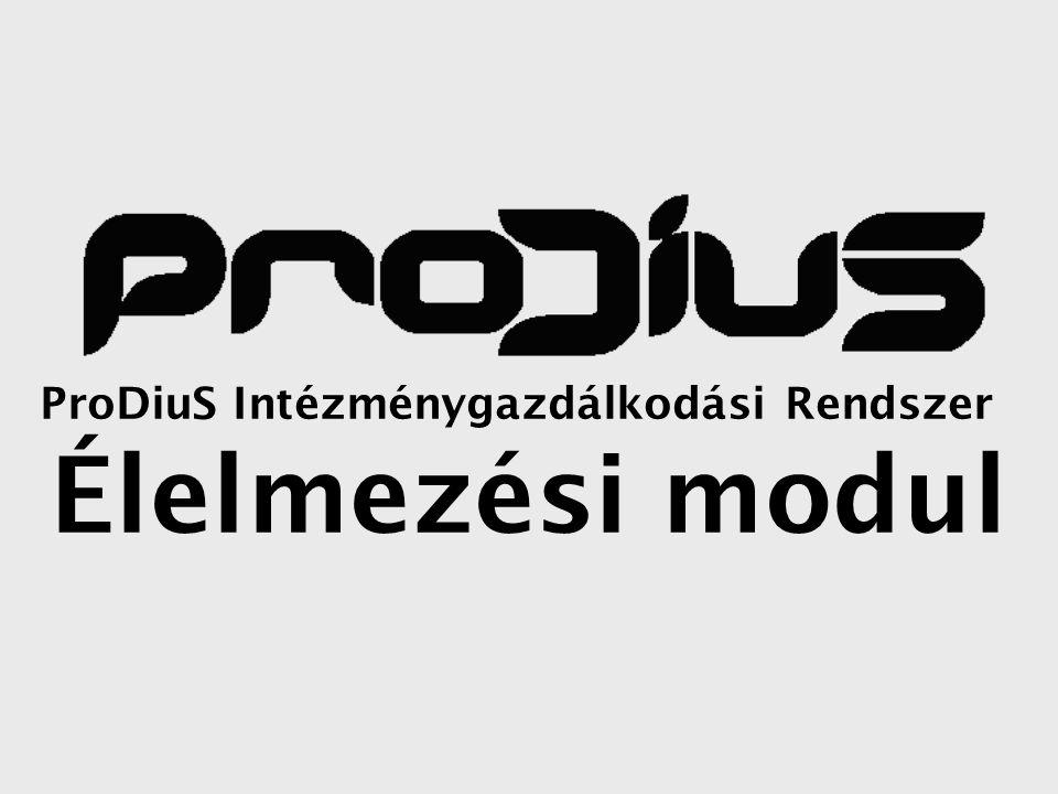 ProDiuS Intézménygazdálkodási Rendszer Élelmezési modul