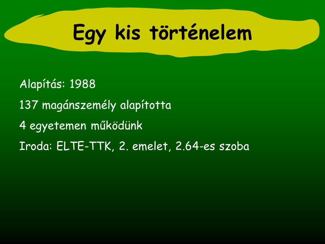 Egy kis történelem Alapítás: 1988 137 magánszemély alapította 4 egyetemen működünk Iroda: ELTE-TTK, 2.