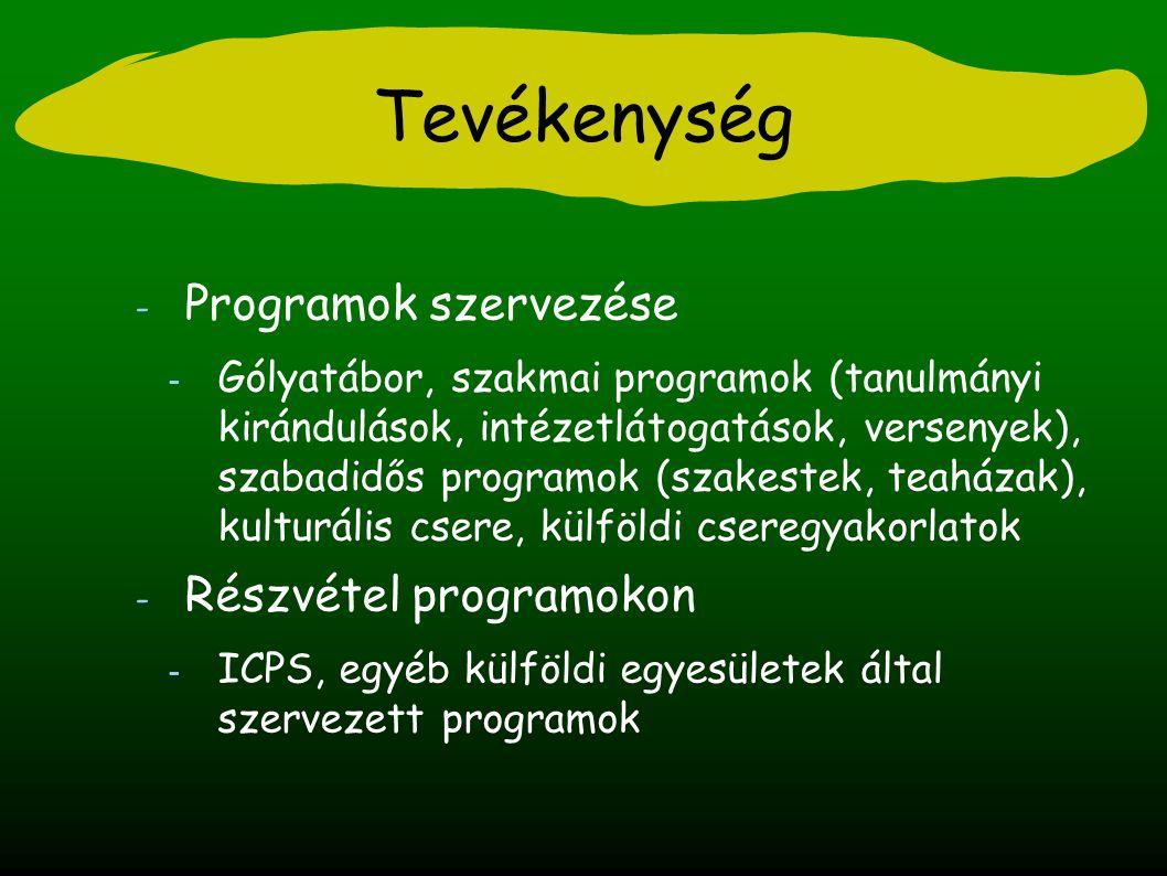 Tevékenység - Programok szervezése - Gólyatábor, szakmai programok (tanulmányi kirándulások, intézetlátogatások, versenyek), szabadidős programok (szakestek, teaházak), kulturális csere, külföldi cseregyakorlatok - Részvétel programokon - ICPS, egyéb külföldi egyesületek által szervezett programok