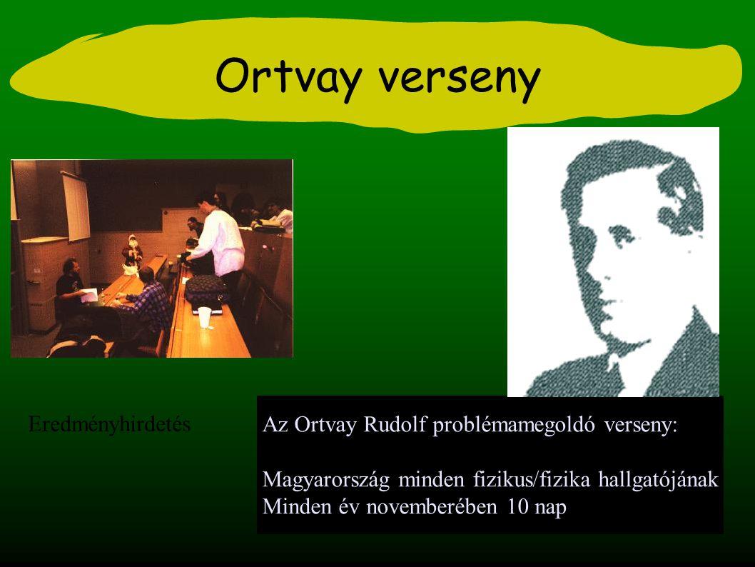 Ortvay verseny Az Ortvay Rudolf problémamegoldó verseny: Magyarország minden fizikus/fizika hallgatójának Minden év novemberében 10 nap Eredményhirdetés