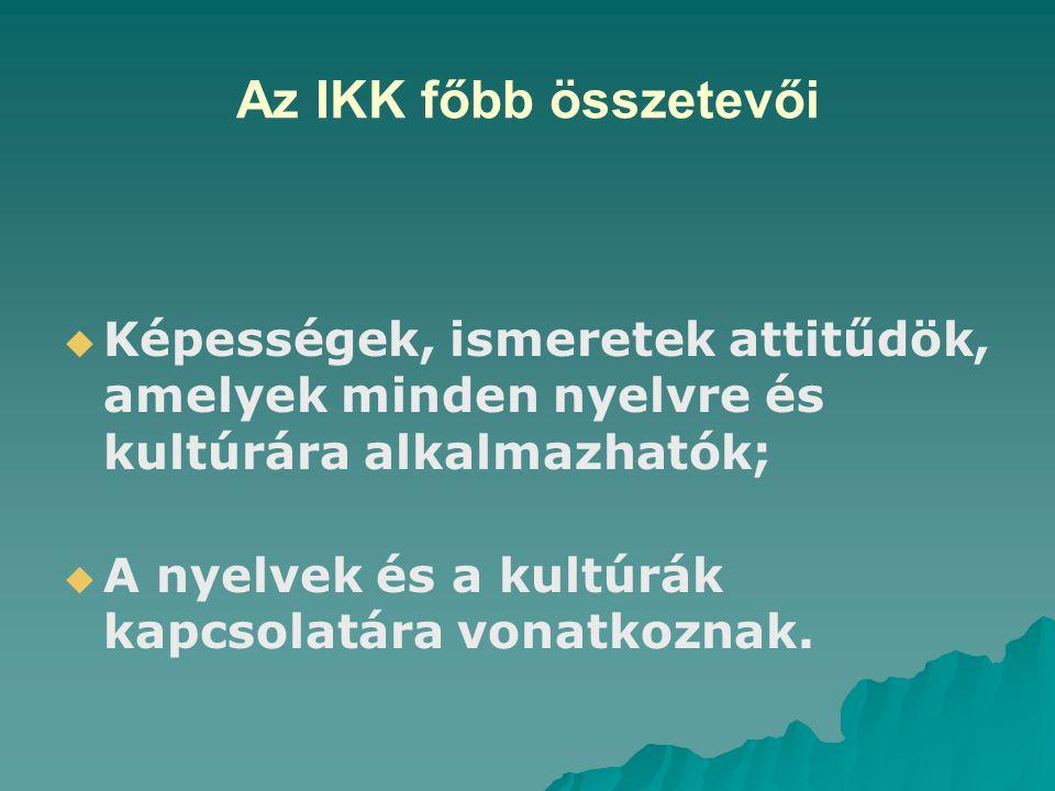 Az IKK főbb összetevői   Képességek, ismeretek attitűdök, amelyek minden nyelvre és kultúrára alkalmazhatók;   A nyelvek és a kultúrák kapcsolatára vonatkoznak.
