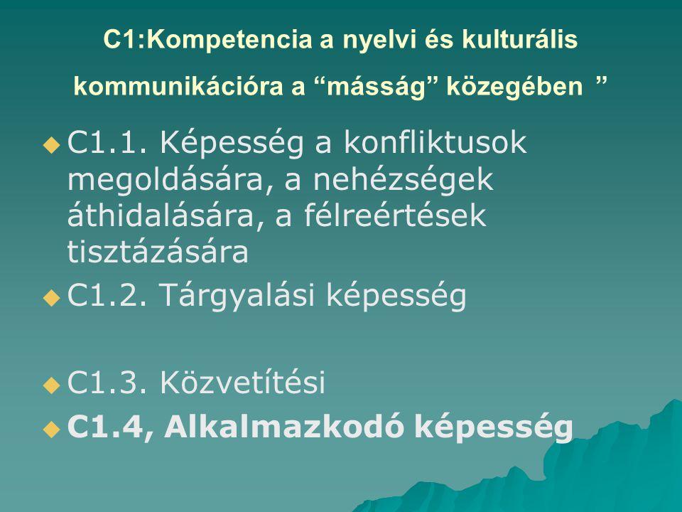 C1:Kompetencia a nyelvi és kulturális kommunikációra a másság közegében   C1.1.