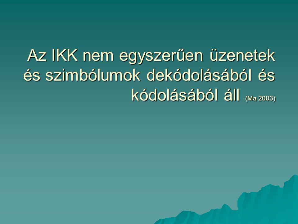 Az IKK nem egyszerűen üzenetek és szimbólumok dekódolásából és kódolásából áll (Ma 2003)