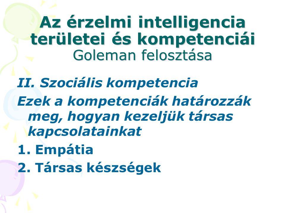 Az érzelmi intelligencia területei és kompetenciái Goleman felosztása II. Szociális kompetencia Ezek a kompetenciák határozzák meg, hogyan kezeljük tá