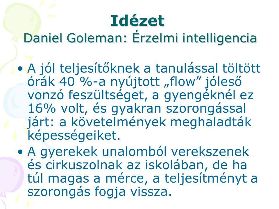 """Idézet Daniel Goleman: Érzelmi intelligencia A jól teljesítőknek a tanulással töltött órák 40 %-a nyújtott """"flow"""" jóleső vonzó feszültséget, a gyengék"""