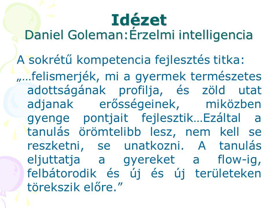 """Idézet Daniel Goleman:Érzelmi intelligencia A sokrétű kompetencia fejlesztés titka: """"…felismerjék, mi a gyermek természetes adottságának profilja, és"""