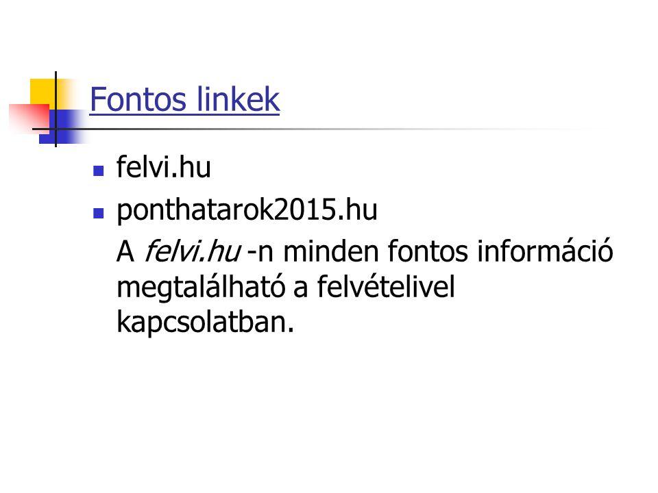 Fontos linkek felvi.hu ponthatarok2015.hu A felvi.hu -n minden fontos információ megtalálható a felvételivel kapcsolatban.