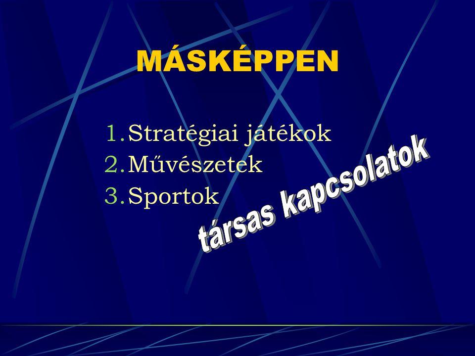MÁSKÉPPEN 1.Stratégiai játékok 2.Művészetek 3.Sportok