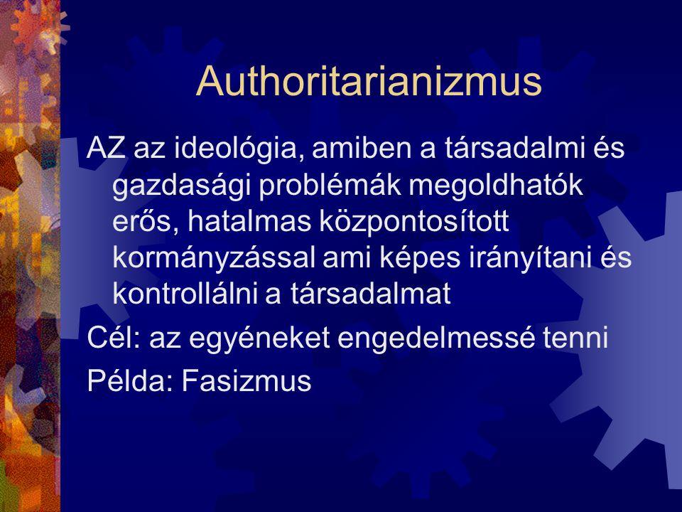 Authoritarianizmus AZ az ideológia, amiben a társadalmi és gazdasági problémák megoldhatók erős, hatalmas központosított kormányzással ami képes irányítani és kontrollálni a társadalmat Cél: az egyéneket engedelmessé tenni Példa: Fasizmus
