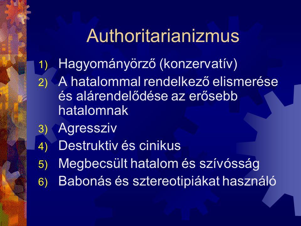 Authoritarianizmus 1) Hagyományörző (konzervatív) 2) A hatalommal rendelkező elismerése és alárendelődése az erősebb hatalomnak 3) Agressziv 4) Destruktiv és cinikus 5) Megbecsült hatalom és szívósság 6) Babonás és sztereotipiákat használó