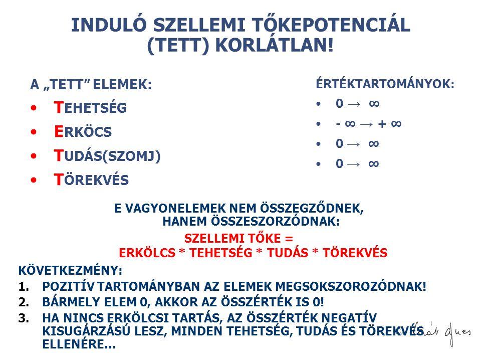 """© INDULÓ SZELLEMI TŐKEPOTENCIÁL (TETT) KORLÁTLAN! A """"TETT"""" ELEMEK: T EHETSÉG E RKÖCS T UDÁS(SZOMJ) T ÖREKVÉS ÉRTÉKTARTOMÁNYOK: 0 → ∞ - ∞ → + ∞ 0 → ∞ E"""