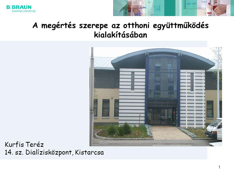 1 A megértés szerepe az otthoni együttműködés kialakításában Kurfis Teréz 14. sz. Dialízisközpont, Kistarcsa