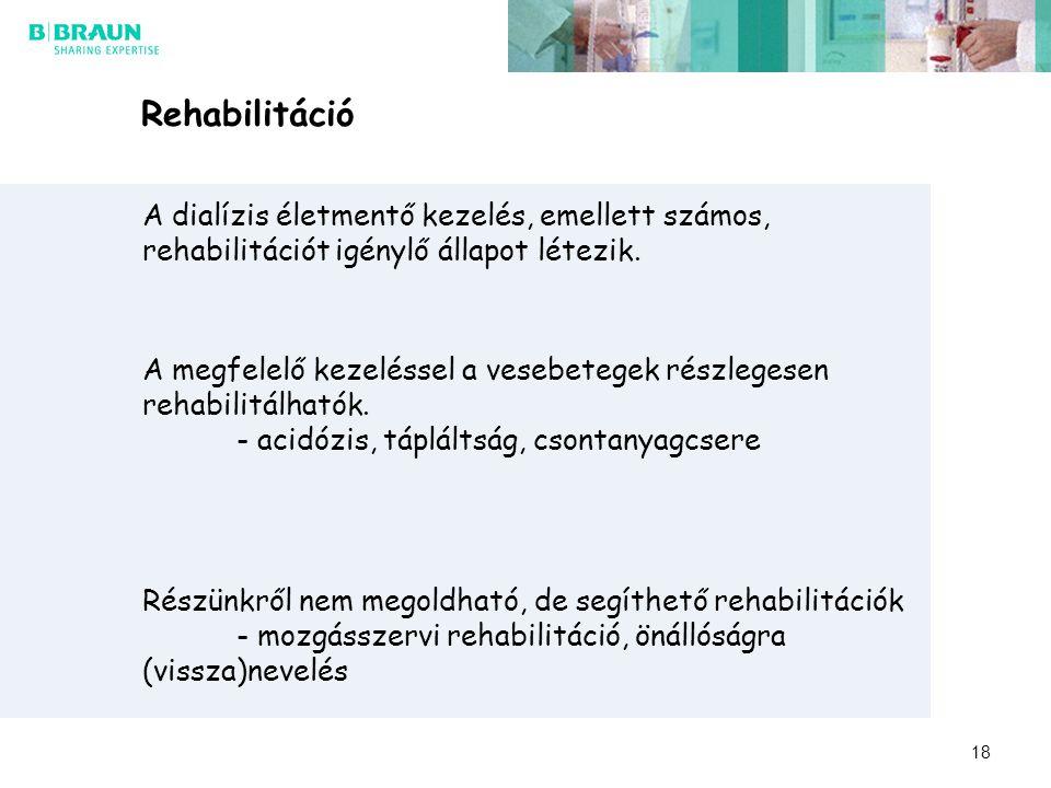 Rehabilitáció A dialízis életmentő kezelés, emellett számos, rehabilitációt igénylő állapot létezik. A megfelelő kezeléssel a vesebetegek részlegesen