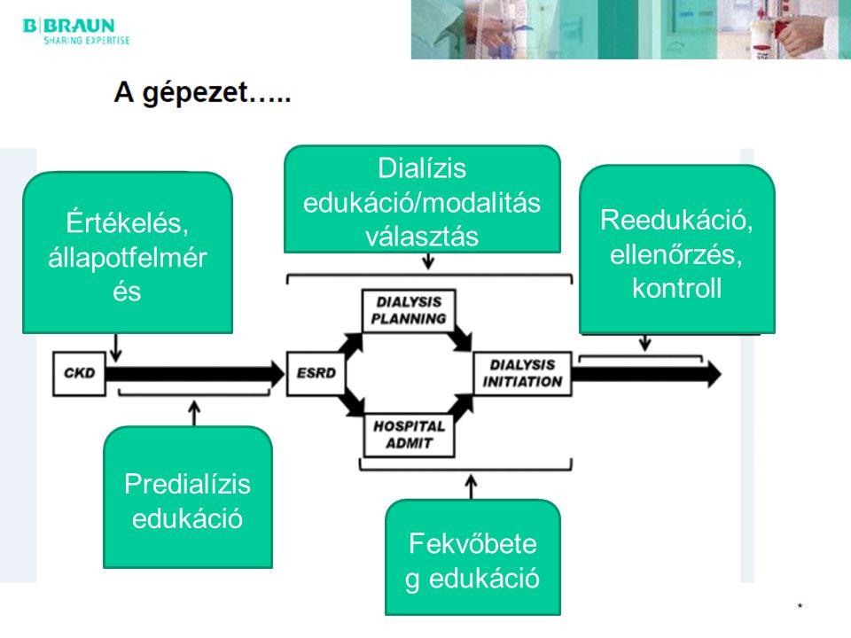 21 Értékelés, állapotfelmér és Dialízis edukáció/modalitás választás Fekvőbete g edukáció Predialízis edukáció Reedukáció, ellenőrzés, kontroll