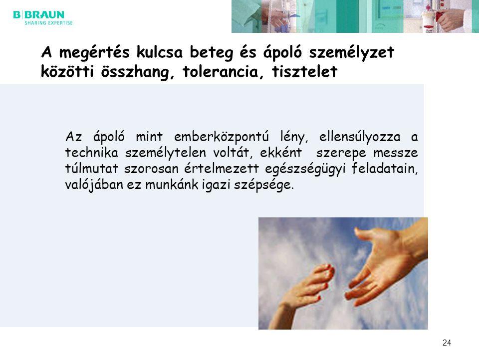 A megértés kulcsa beteg és ápoló személyzet közötti összhang, tolerancia, tisztelet Az ápoló mint emberközpontú lény, ellensúlyozza a technika személy