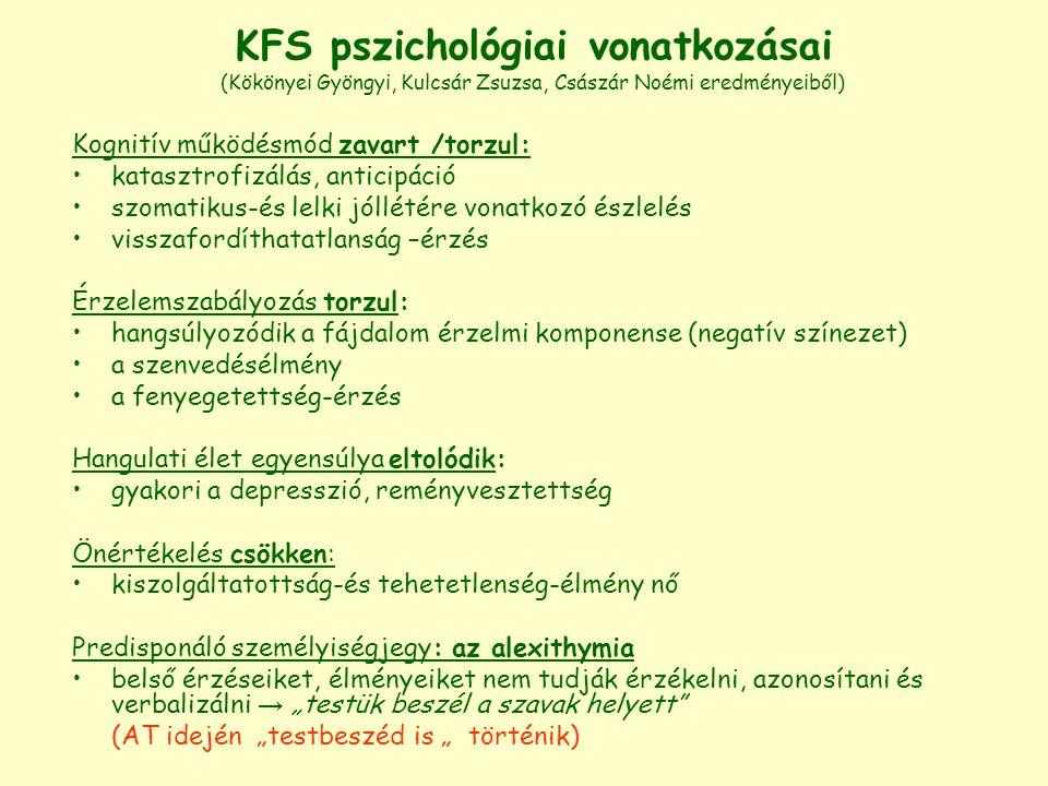 KFS pszichológiai vonatkozásai (Kökönyei Gyöngyi, Kulcsár Zsuzsa, Császár Noémi eredményeiből) Kognitív működésmód zavart /torzul: katasztrofizálás, a