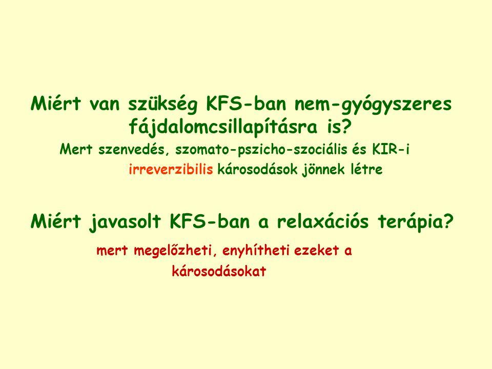 Miért van szükség KFS-ban nem-gyógyszeres fájdalomcsillapításra is? Mert szenvedés, szomato-pszicho-szociális és KIR-i irreverzibilis károsodások jönn