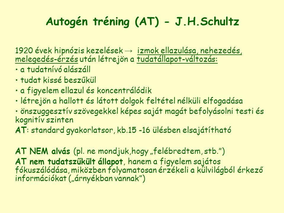 Autogén tréning (AT) - J.H.Schultz 19 2 0 évek hipnózis kezelések → izmok ellazulása, nehezedés, melegedés-érzés után létrejön a tudatállapot-változás