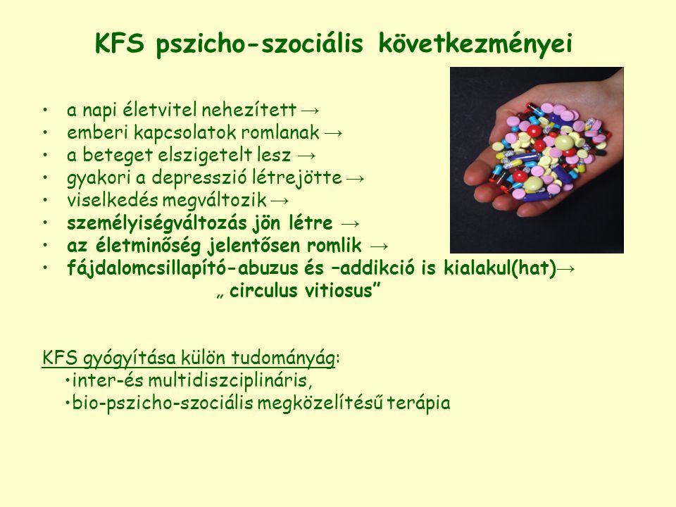"""KFS pszichológiai vonatkozásai (Kökönyei Gyöngyi, Kulcsár Zsuzsa, Császár Noémi eredményeiből) Kognitív működésmód zavart /torzul: katasztrofizálás, anticipáció szomatikus-és lelki jóllétére vonatkozó észlelés visszafordíthatatlanság –érzés Érzelemszabályozás torzul: hangsúlyozódik a fájdalom érzelmi komponense (negatív színezet) a szenvedésélmény a fenyegetettség-érzés Hangulati élet egyensúlya eltolódik: gyakori a depresszió, reményvesztettség Önértékelés csökken: kiszolgáltatottság-és tehetetlenség-élmény nő Predisponáló személyiségjegy: az alexithymia belső érzéseiket, élményeiket nem tudják érzékelni, azonosítani és verbalizálni → """"testük beszél a szavak helyett (AT idején """"testbeszéd is """" történik)"""