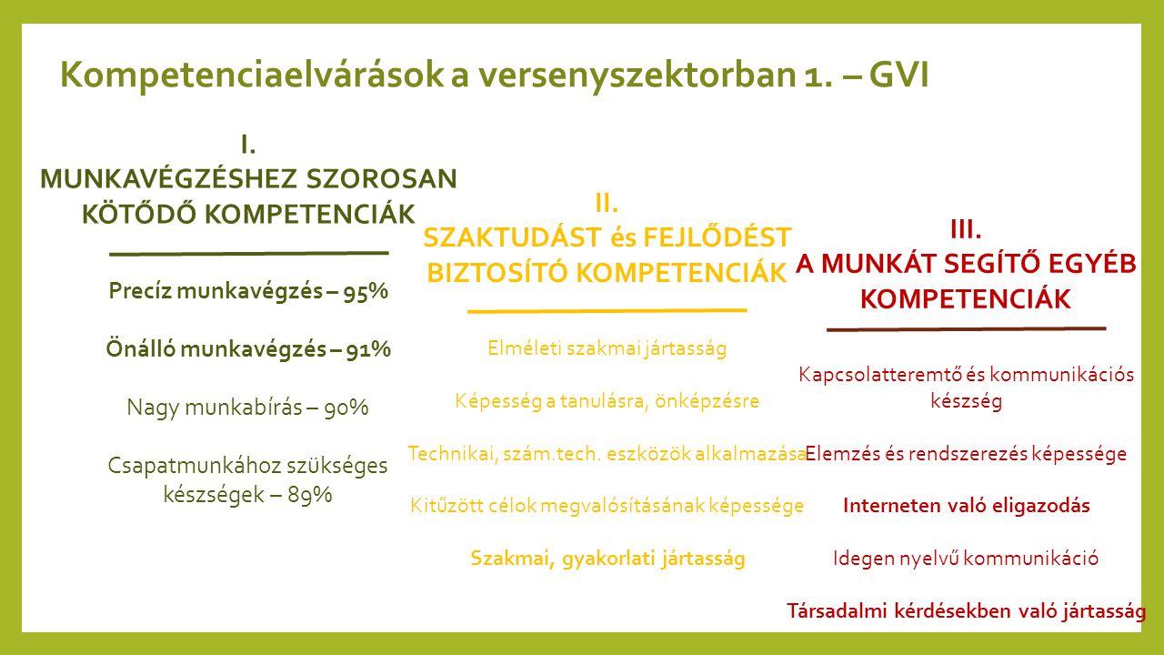 Kompetenciaelvárások a versenyszektorban 1. – GVI I. MUNKAVÉGZÉSHEZ SZOROSAN KÖTŐDŐ KOMPETENCIÁK Precíz munkavégzés – 95% Önálló munkavégzés – 91% Nag