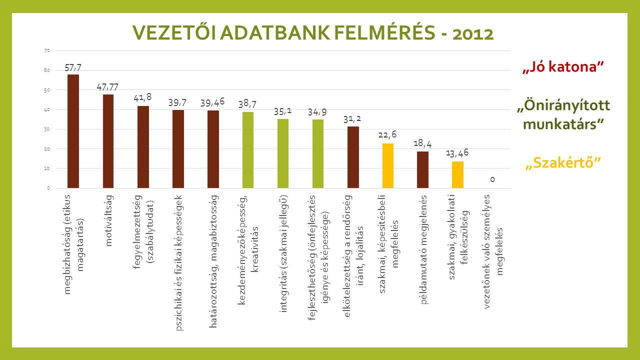 """VEZETŐI ADATBANK FELMÉRÉS - 2012 """"Jó katona"""" """"Önirányított munkatárs"""" """"Szakértő"""""""