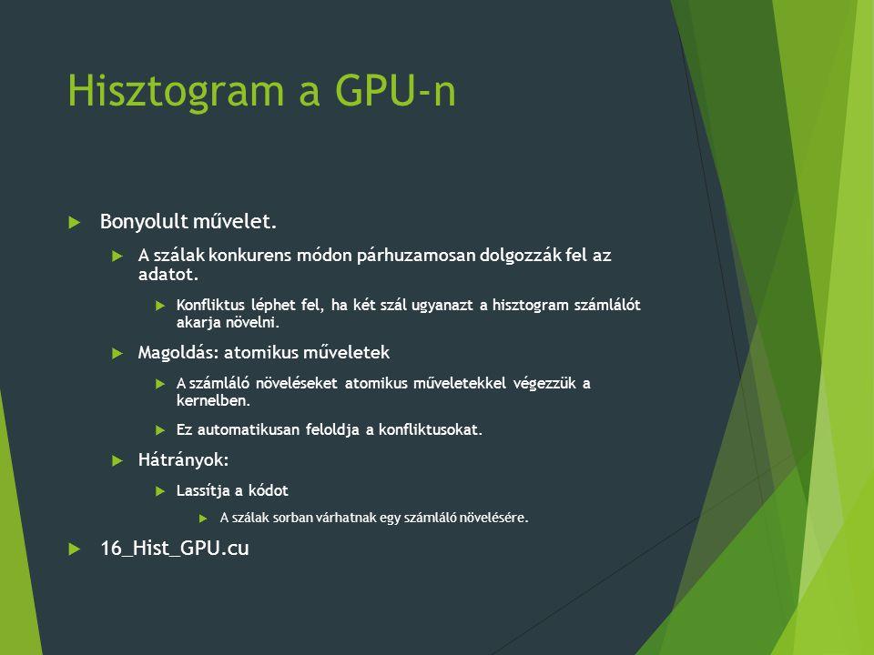 Hisztogram a GPU-n  Bonyolult művelet.