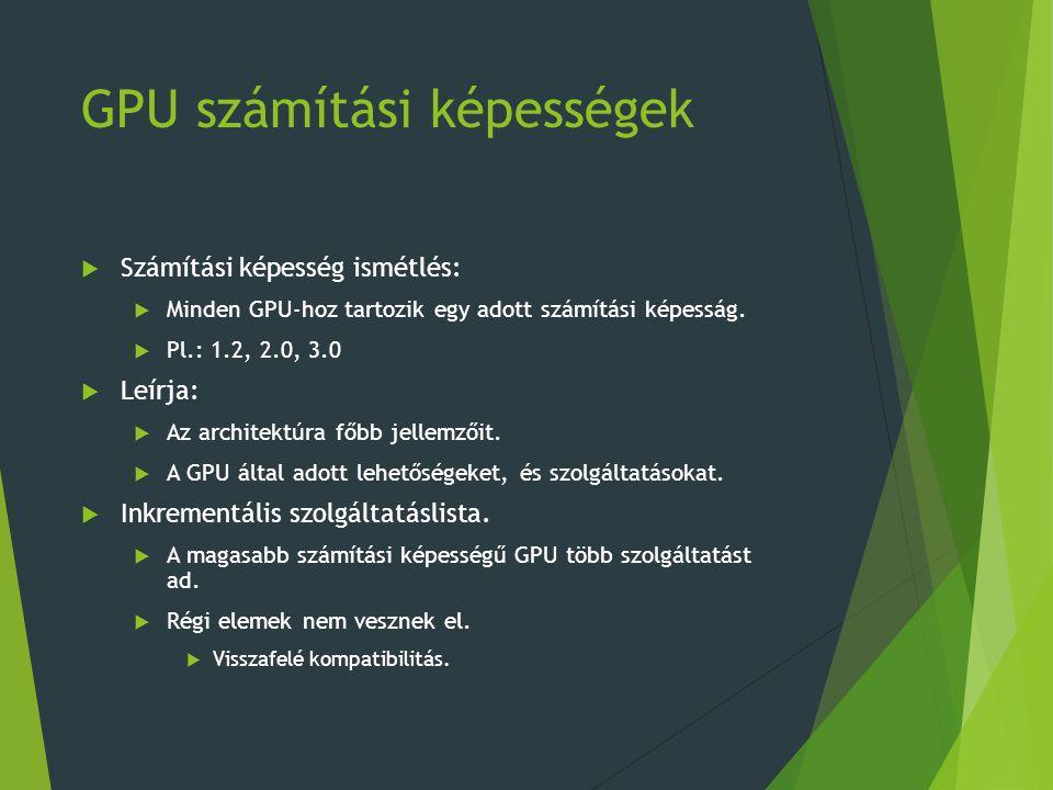 GPU számítási képességek  Számítási képesség ismétlés:  Minden GPU-hoz tartozik egy adott számítási képesság.