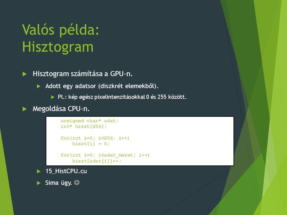 Valós példa: Hisztogram  Hisztogram számítása a GPU-n.