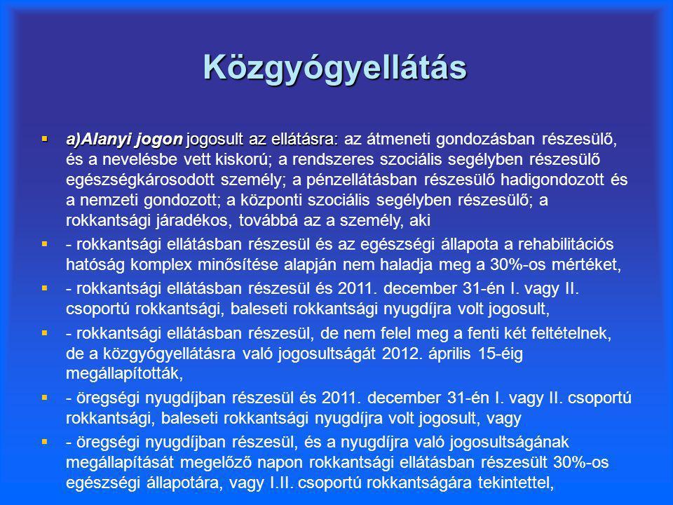 Közgyógyellátás  a)Alanyi jogon jogosult az ellátásra:  a)Alanyi jogon jogosult az ellátásra: az átmeneti gondozásban részesülő, és a nevelésbe vett