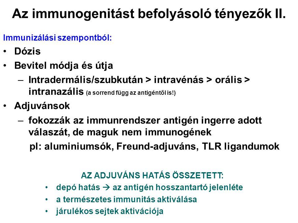 Az immunogenitást befolyásoló tényezők II. Immunizálási szempontból: Dózis Bevitel módja és útja –Intradermális/szubkután > intravénás > orális > intr