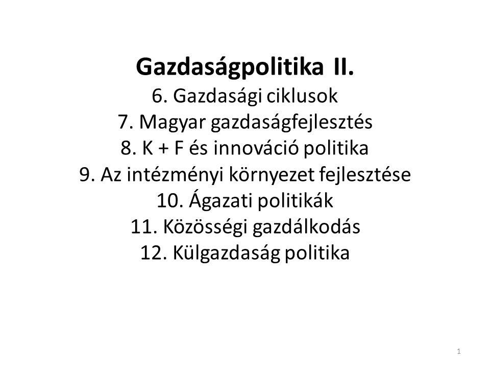 Gazdaságpolitika II. 6. Gazdasági ciklusok 7. Magyar gazdaságfejlesztés 8. K + F és innováció politika 9. Az intézményi környezet fejlesztése 10. Ágaz