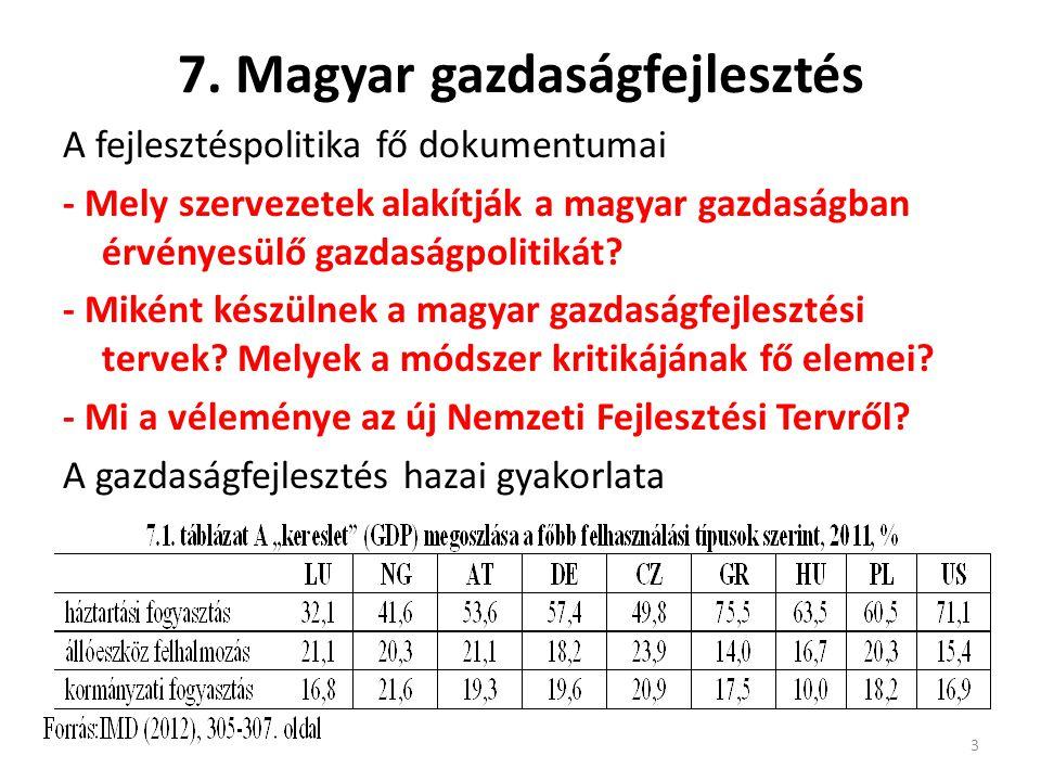 7. Magyar gazdaságfejlesztés A fejlesztéspolitika fő dokumentumai - Mely szervezetek alakítják a magyar gazdaságban érvényesülő gazdaságpolitikát? - M