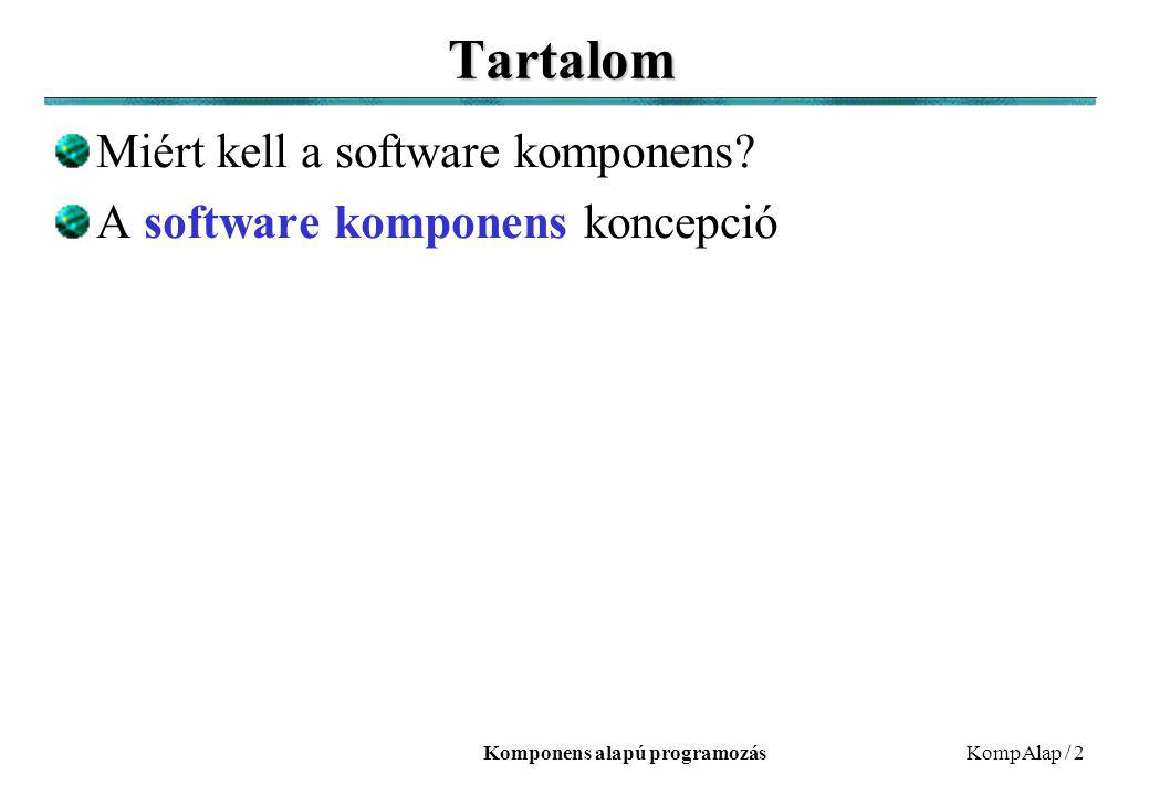 Komponens alapú programozásKompAlap / 2 Tartalom Miért kell a software komponens.