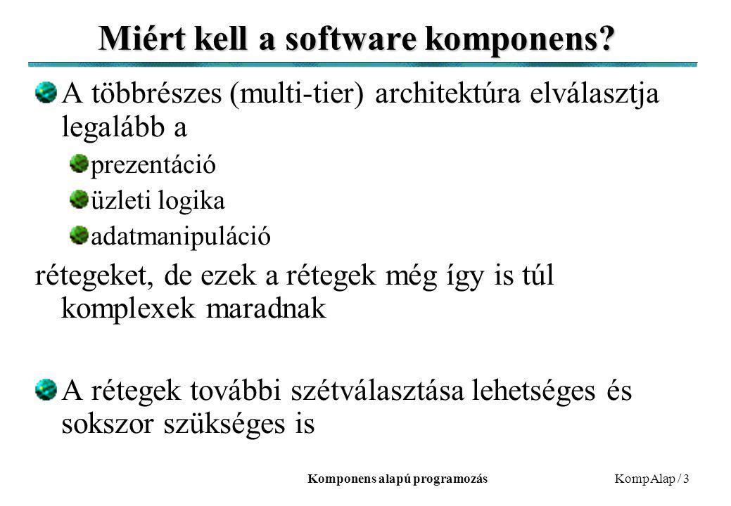 Komponens alapú programozásKompAlap / 3 Miért kell a software komponens? A többrészes (multi-tier) architektúra elválasztja legalább a prezentáció üzl