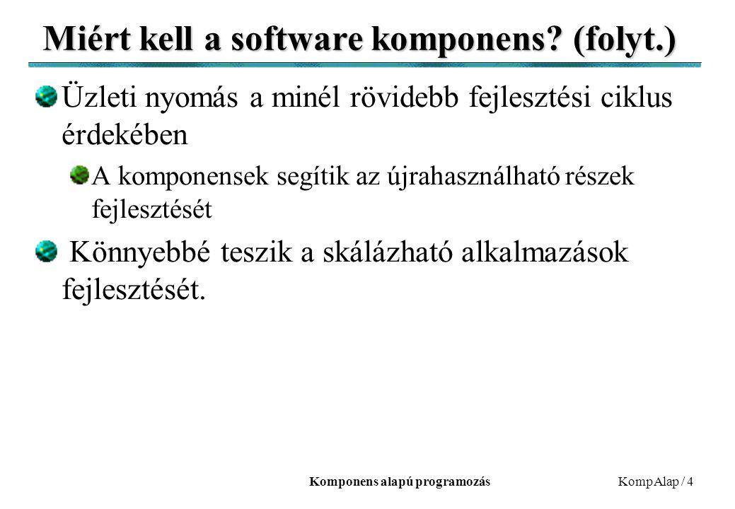 Komponens alapú programozásKompAlap / 4 Miért kell a software komponens? (folyt.) Üzleti nyomás a minél rövidebb fejlesztési ciklus érdekében A kompon