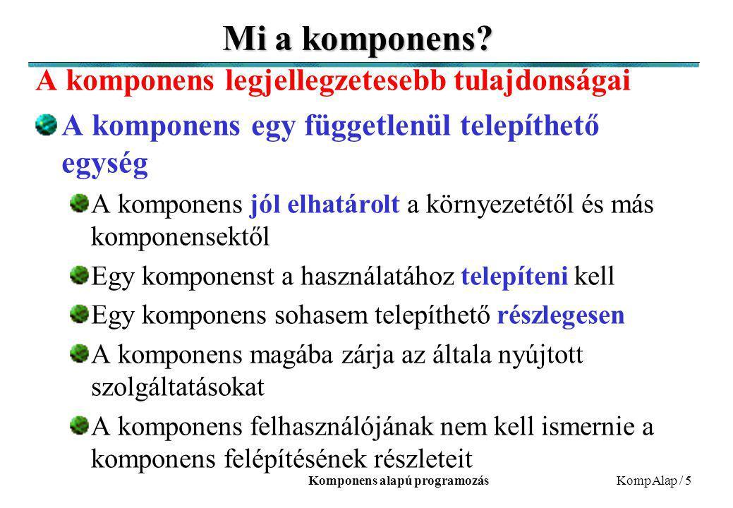 Komponens alapú programozásKompAlap / 5 Mi a komponens? A komponens legjellegzetesebb tulajdonságai A komponens egy függetlenül telepíthető egység A k