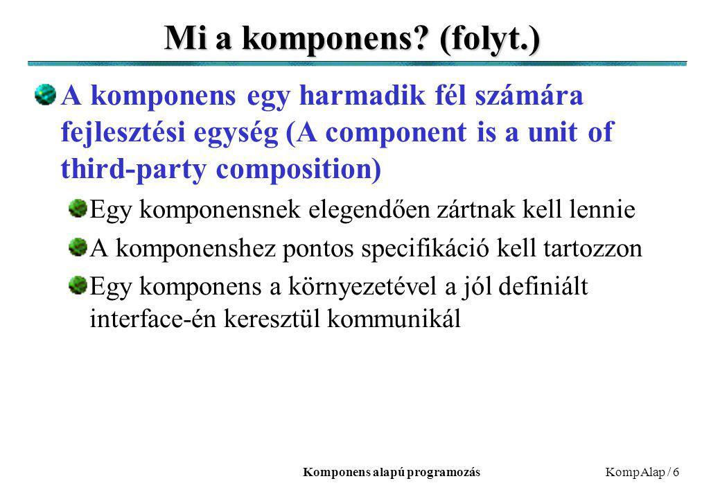 Komponens alapú programozásKompAlap / 6 Mi a komponens? (folyt.) A komponens egy harmadik fél számára fejlesztési egység (A component is a unit of thi