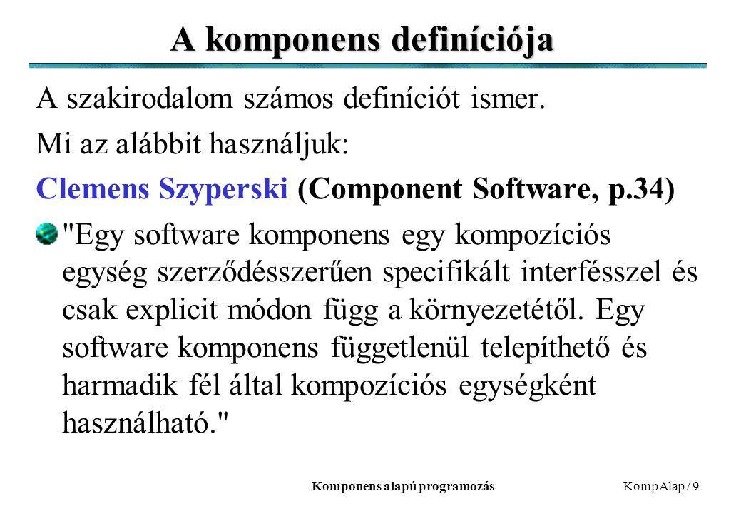 Komponens alapú programozásKompAlap / 9 A komponens definíciója A szakirodalom számos definíciót ismer. Mi az alábbit használjuk: Clemens Szyperski (C