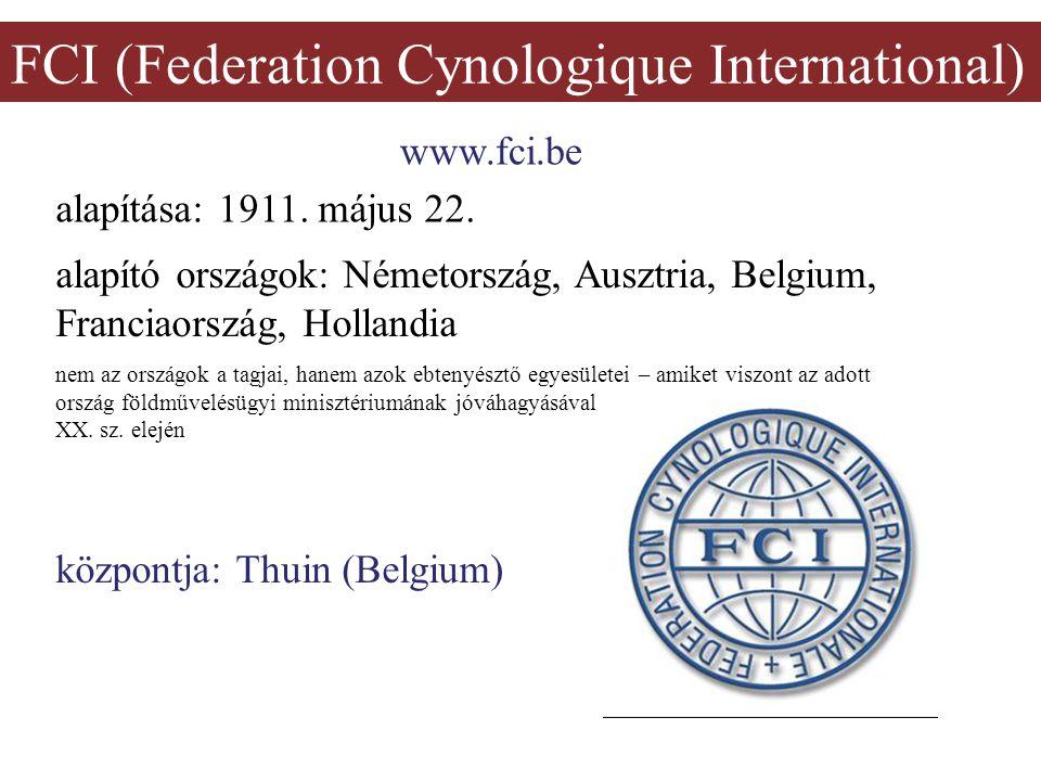 FCI (Federation Cynologique International) www.fci.be alapítása: 1911. május 22. központja: Thuin (Belgium) alapító országok: Németország, Ausztria, B